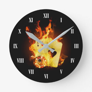 Burning Poker Cards Wall Clock