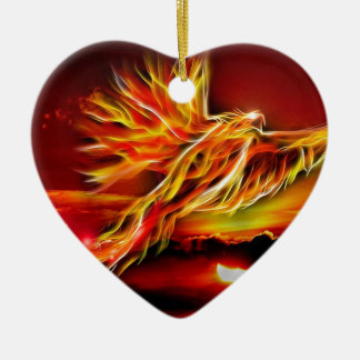 Burning Red Flying Phoenix Garden of Tarot Ceramic Ornament