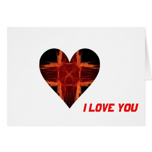 Burning Red Fractal Art Heart Cards