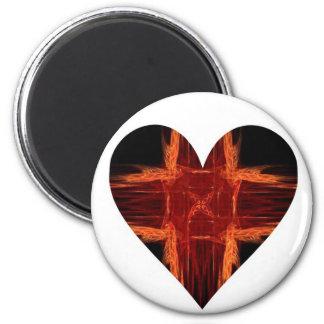 Burning Red Fractal Art Heart Magnets