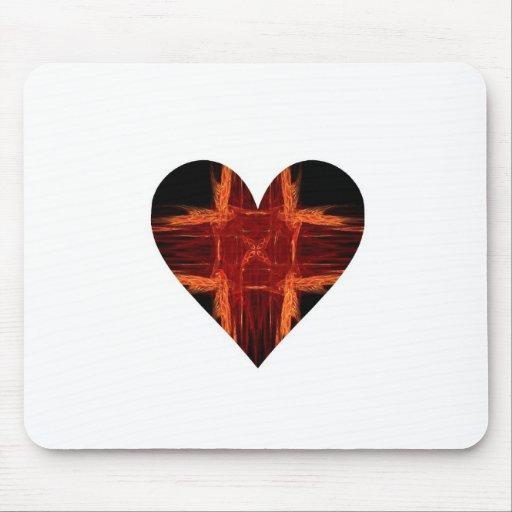 Burning Red Fractal Art Heart Mousepads
