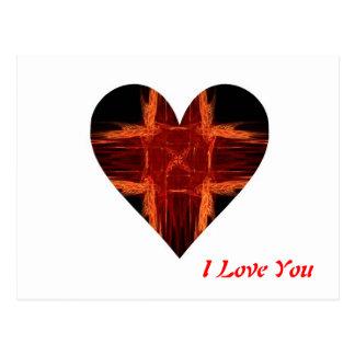 Burning Red Fractal Art Heart Post Card