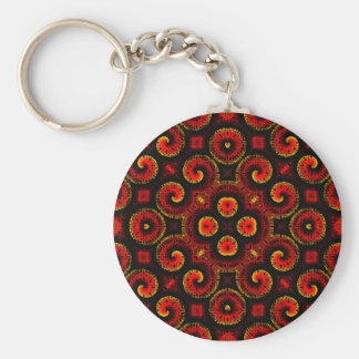 Burning Red Magma Waves Big Paper Cut Out Basic Round Button Keychain