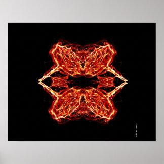 Burning Rose - Rose on Fire - Kaleidoscope Poster
