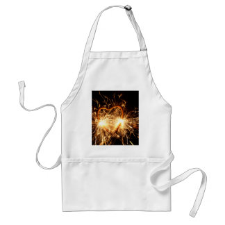 Burning sparkler in form of a heart standard apron