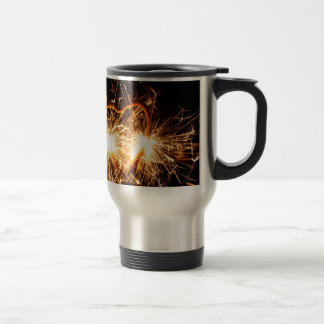 Burning sparkler in form of a heart travel mug