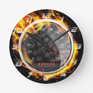 Burning  Speedometer Fire Flame  on The Black Round Clock