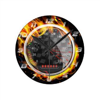Burning  Speedometer Fire Flame  on The Black Wallclocks