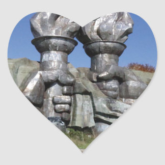 Burning torch sculpture Buzludzha monument Heart Sticker
