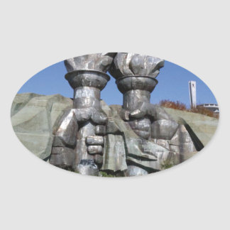 Burning torch sculpture Buzludzha monument Oval Sticker