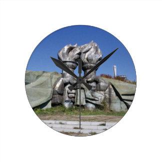 Burning torch sculpture Buzludzha monument Round Clock
