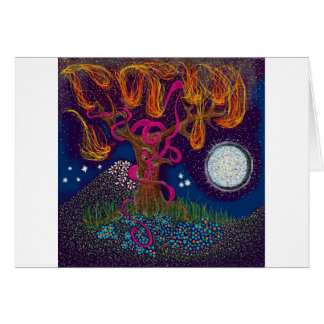 Burning Tree with Moon and Ribbon Greeting Card