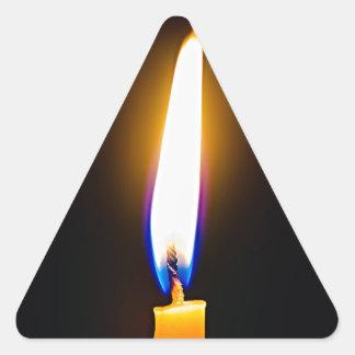 Burning wax candle triangle sticker