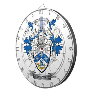 Burns Family Crest Coat of Arms Dartboard