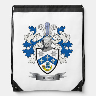 Burns Family Crest Coat of Arms Drawstring Bag
