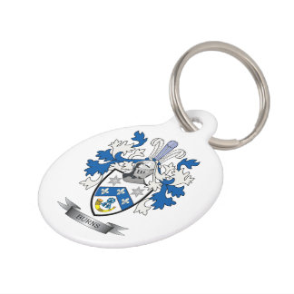 Burns Family Crest Coat of Arms Pet Tag