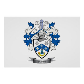 Burns Family Crest Coat of Arms Poster