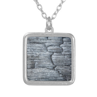 Burnt black wood silver plated necklace
