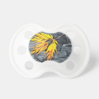 Burnt black wood with yellow leaf baby pacifiers