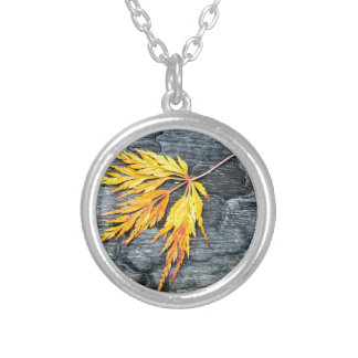 Burnt black wood with yellow leaf silver plated necklace