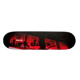 "Burnt ""dark days"" skate board deck"