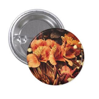 Burnt Flowers 1 Inch Round Button
