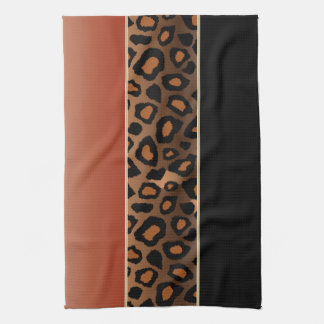 Burnt Orange and Black Leopard Animal Print Kitchen Towel