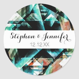 Burnt Orange and Jade Green Geometric Pattern Classic Round Sticker