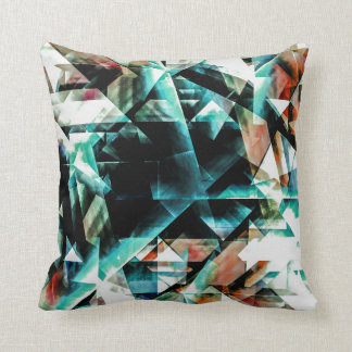 Burnt Orange and Jade Green Geometric Pattern Throw Pillow