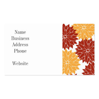 Burnt Orange and Orange Flower Blossoms Flora Double-Sided Standard Business Cards (Pack Of 100)