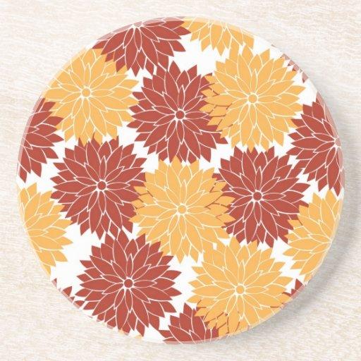 Burnt Orange and Orange Flower Blossoms Flora Drink Coasters