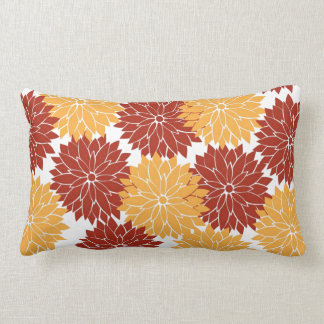 Burnt Orange and Orange Flower Blossoms Flora Throw Pillows
