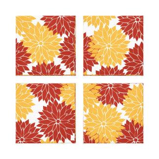 Burnt Orange and Orange Flower Blossoms Floral Stretched Canvas Print