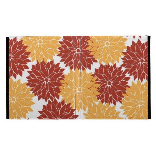 Burnt Orange and Orange Flower Blossoms Floral iPad Folio Covers