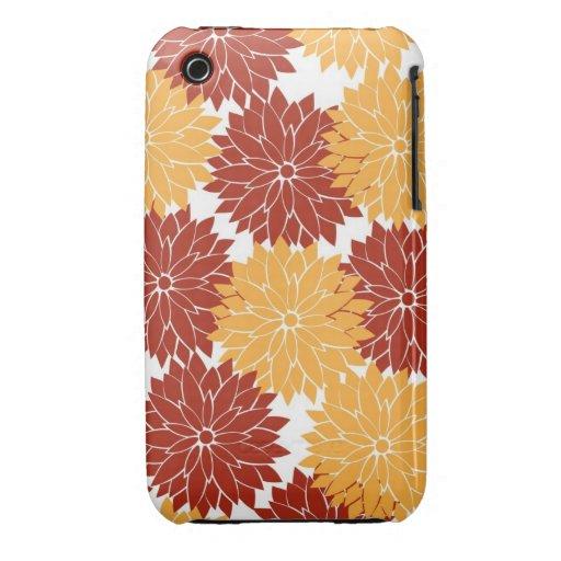 Burnt Orange and Orange Flower Blossoms Floral iPhone 3 Cover