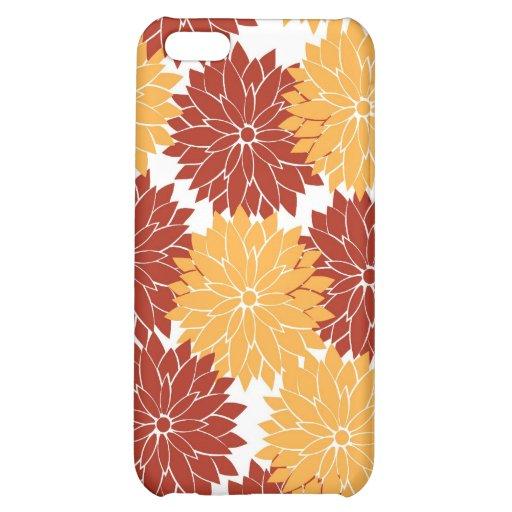Burnt Orange and Orange Flower Blossoms Floral iPhone 5C Cases