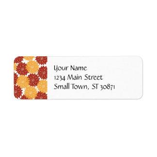 Burnt Orange and Orange Flower Blossoms Floral Return Address Label