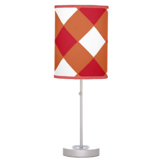 Burnt Orange and Red Diamond-Patterned Lamp