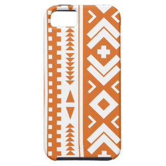 Burnt Orange and White Aztec Tribal Print iPhone 5 Cover