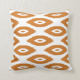 Burnt Orange and White Tribal Ikat Dots Throw Pillow