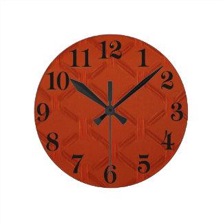 Burnt Orange Basket weave Round Clock