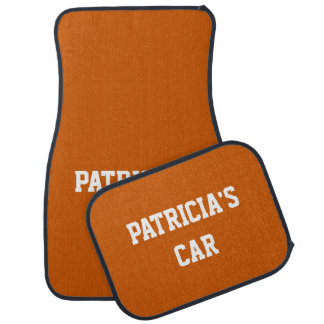 Burnt Orange Bold Single Color Name Car Mat