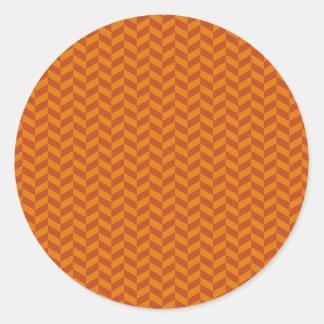Burnt Orange Chevron Zig Zag Stripes Pattern Classic Round Sticker
