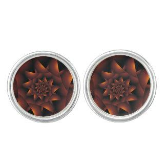 Burnt Orange Dark Spiral Fractal Cufflinks