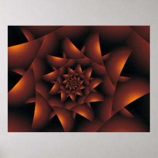 Burnt Orange Dark Spiral Fractal Poster