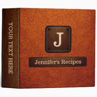 Burnt Orange Elegant Recipe Leather Look Binder