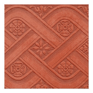 Burnt Orange Faux Embossed Pattern Perfect Poster