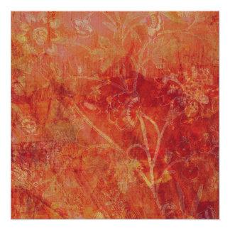 Burnt Orange Flower Field Background Perfect Poster
