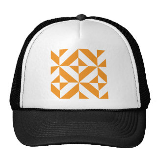 Burnt Orange Geometric Deco Cube Pattern Trucker Hat