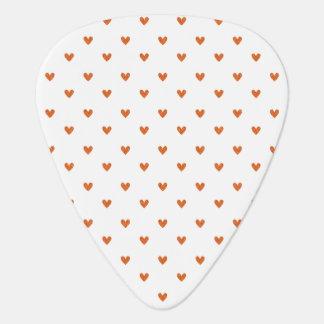Burnt Orange Glitter Hearts Pattern Guitar Pick